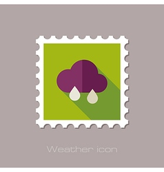Rain cloud flat stamp meteorology weather vector