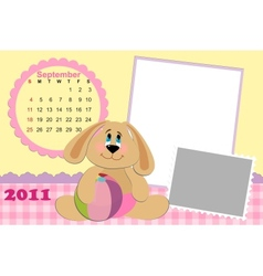 Babys monthly calendar for september 2011s vector
