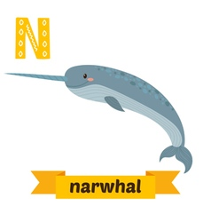 Narwhal n letter cute children animal alphabet in vector