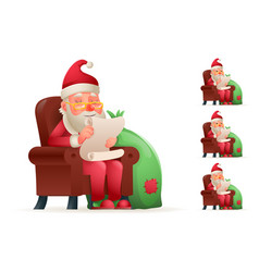 armchair sit christmas santa claus pleased happy vector image vector image