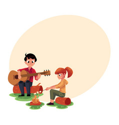 Camping kids - playing guitar and frying vector