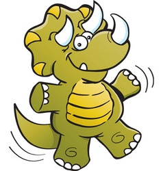Cartoon jumping triceratops vector