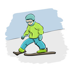cartoon kid skiing downhill vector image vector image