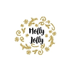 Christmas card on white background with golden vector