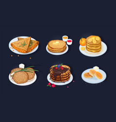 Collection of fried pancakes blini crepes vector