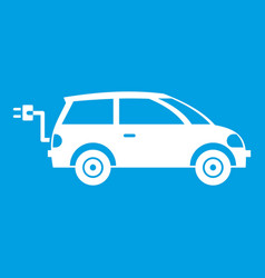 Electric car icon white vector