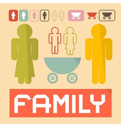 Family icons - man woman children and baby vector