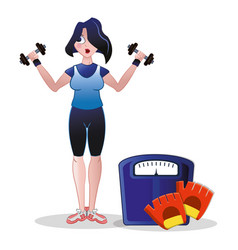 fitness woman weight scale barbell and gloves vector image vector image