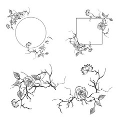 floral decorative border and frame set with vector image