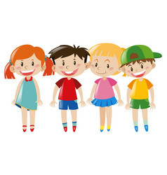 four kids with happy face vector image vector image
