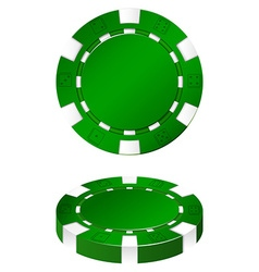Green casion chips on white vector image
