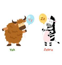 Isolated alphabet letter y-yakz-zebra vector