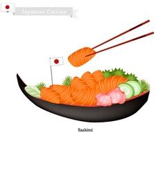 Japanese salmon sashimi a popular dish in japan vector