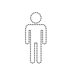 Man sign black dashed icon vector