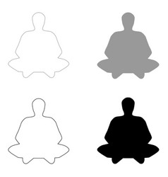 Meditation man the black and grey color set icon vector