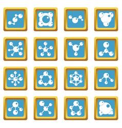 molecule icons azure vector image