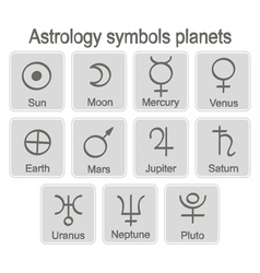 Monochrome icon set with astrology symbols planets vector
