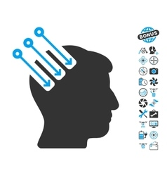 Neuro interface icon with copter tools bonus vector