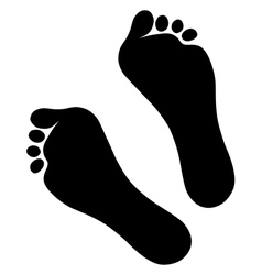 Old man silhouette foot prints vector