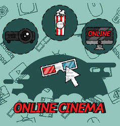 online cinema flat concept icons vector image vector image