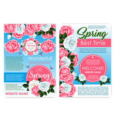 Posters of flowers for spring holiday greetings vector