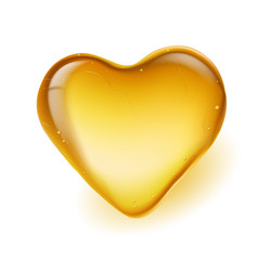 Realistic amber in a heart shape on white vector