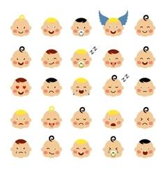 Set of cute baby emoticons vector image