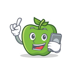 With phone green apple character cartoon vector