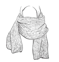 Woman silhouette in Winter Scarf Fashion vector image