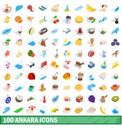 100 ankara icons set isometric 3d style vector image vector image