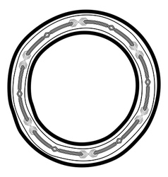 Round doodle border frame vector