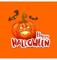 Halloween card with pumpkin and bats vector