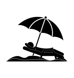Silhouette person in beach chair with umbrella vector