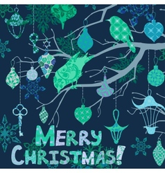 Dark blue Christmas card with birds and vector image