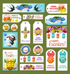 Easter tag label and card set cartoon design vector