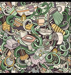 cartoon cute doodles bathroom seamless pattern vector image