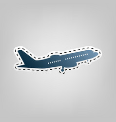 flying plane sign side view  blue icon vector image