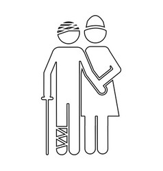 Silhouette pictogram nurse with bandaged patient vector