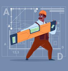 Cartoon african american builder holding carpenter vector