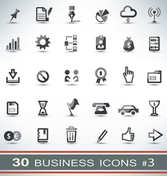 30 business icons set 3 vector image vector image