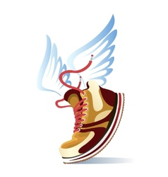 Winged sports shoe icon vector