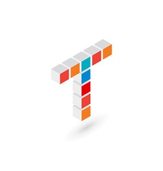 3d cube letter t logo icon design template vector