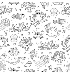 Seamless background with sea animals vector