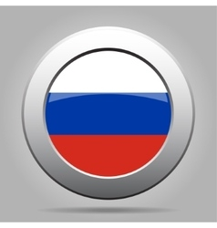 Metal button with flag of russia vector