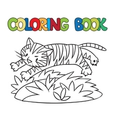 Coloring book of funny wild tiger vector