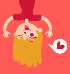 Cute lover girl showing upside down on screen vector
