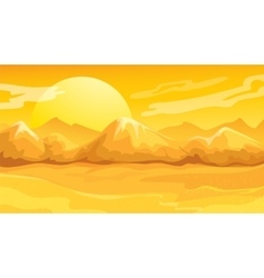 Yellow sunset desert landscape vector