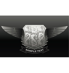 vintage emblem with shield and wings vector image