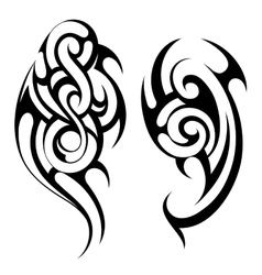 Maori style tattoo shapes set vector