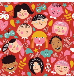 Seamless pattern with children vector